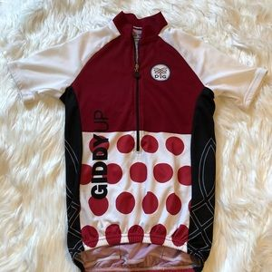 Women's Dude Girl bicycle jersey size XS dark red